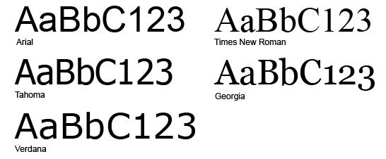 arial-verdana-tahoma-times-georgia